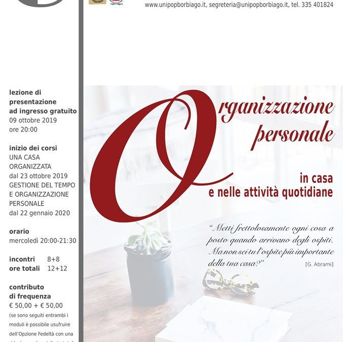 """Corsi di Organizzazione personale presso l'Università Popolare """"F.Petrarca"""" di Borbiago (Ve)."""