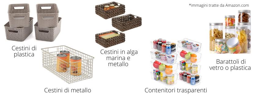 esempi di cestini e contenitori per la cucina